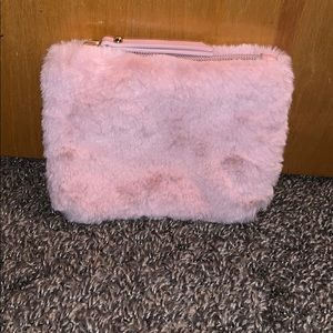 Pink fur zip Coin pouch bag